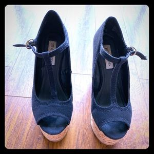 Black t strap peep toe wedge